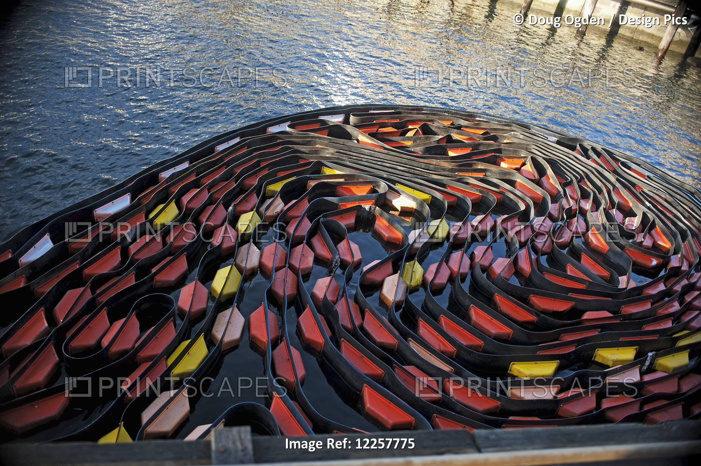 A Colorful Coiled Oil Boom At The Seattle Waterfront Piers, Washington, USA