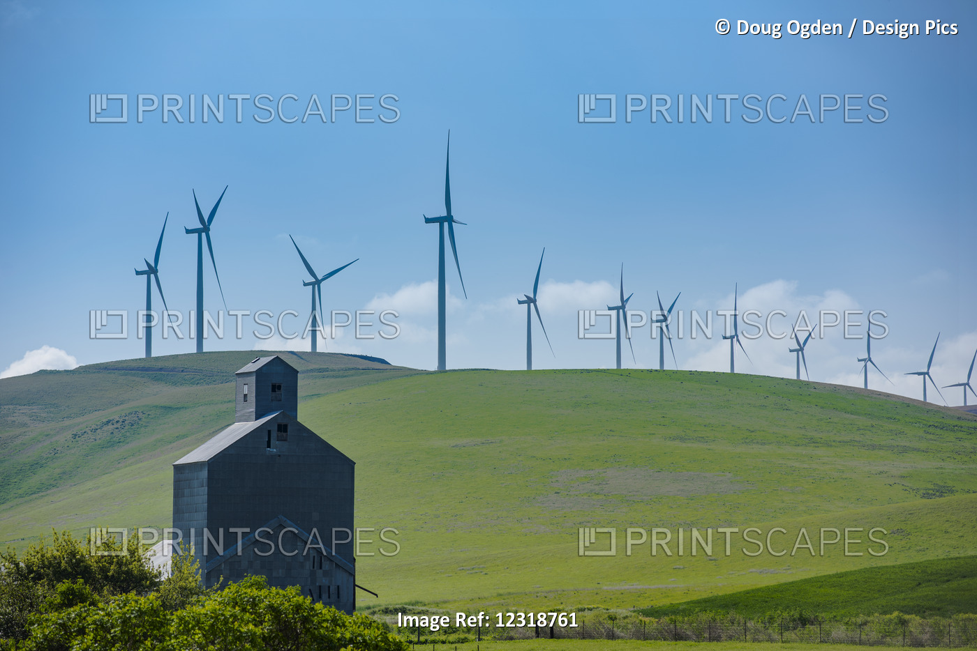 Wind Turbines Of The Lower Snake River Wind Project In Contrast To An Old Barn ...