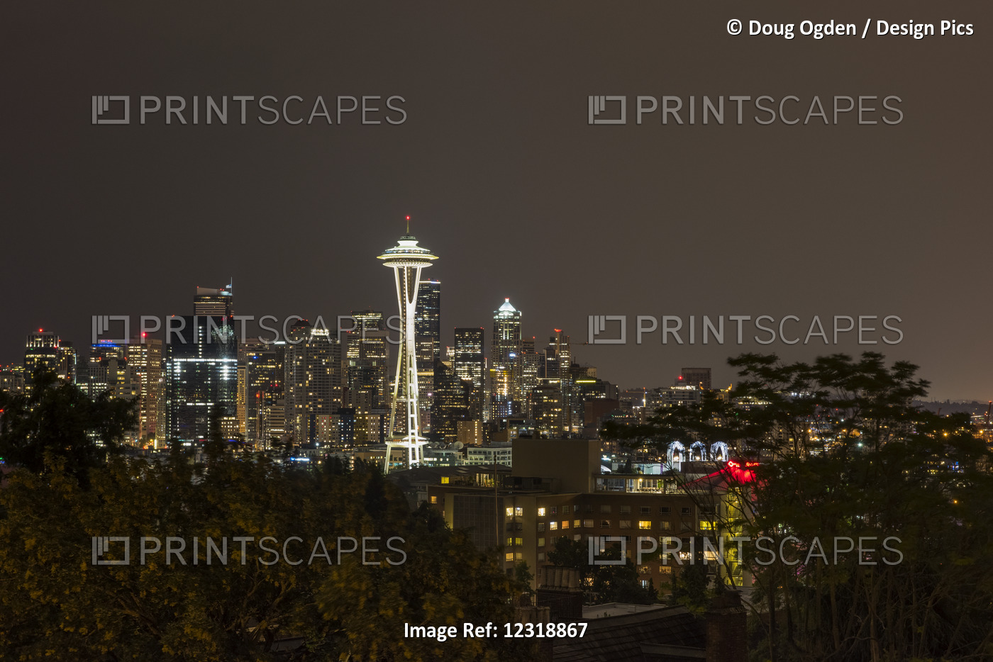 A Night Shot Of The Seattle Skyline From Queen Anne Hill With The Iconic Space ...